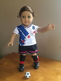American-Girl-Doll-Soccer-Outfit-With-Ball-Great-Spring-Sport-Gear
