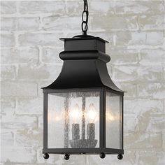 Homesteader Seeded Glass Outdoor Hanging Lantern