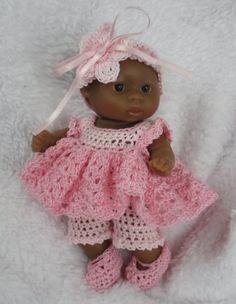 Crochet pattern for Berenguer 5 inch baby doll - dress, shorts ...