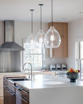 - Island Pendant Lights - Ideas of Island Pendant Lights #IslandPendantLights Kitchen Island Lighting, Kitchen Lighting Fixtures, Kitchen Pendant Lighting, Kitchen Pendants, Kitchen Islands, Kitchen Lights Over Island, Lights For Kitchen, Hanging Kitchen Lights, Light Pendant