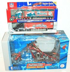 3 LOT - MIAMI MARLINS MLB & DOLPHINS 1:80 + 1:10 HEAT DIECAST TOY VEHICLE NEW #PressPassIncCollectiblesERTL