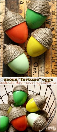 """Thanksgiving acorn fortune eggs - simple to create and can be filled with thanksgiving """"fortunes"""" and treats!"""