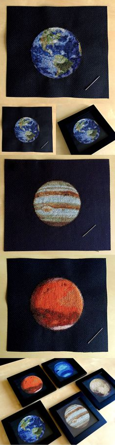 Solar system embroidery by Navid Baraty // cross stitch DIY //