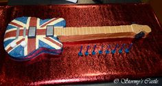 Union Jack guitar cake for my Son's 8th Birthday.