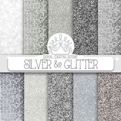 "Silver glitter digital paper: "" SILVER & GLITTER"" with silver glitter backgrounds, textures for scrapbooking, cards, invitations, party #paper #wedding"