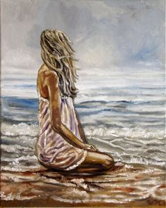 SEASIDE GIRL - Moment of meditation - Oil painting on canvas Oil painting by Wadih Maalouf