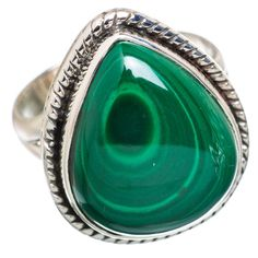 Ana Silver Co Malachite 925 Sterling Silver Ring Size 8 RING828374