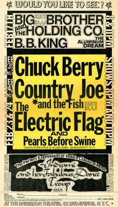 Chuck Berry, Country Joe and the Fish, and Electric Flag, 1968