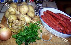 Poêlée de pommes de terre fondantes aux merguez et champignons Fondant, Sausage, Meat, Food, Apples, Round Kitchen, Fondant Icing, Sausages, Essen