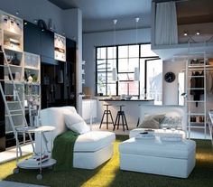 Green White Decorating Modern and Luxury 2012 IKEA Living Room Ideas