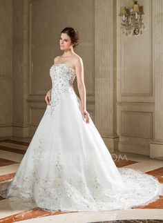 A-Line/Princess Sweetheart Chapel Train Satin Organza Wedding Dress With Embroidered Sequins (002004526) - JJsHouse