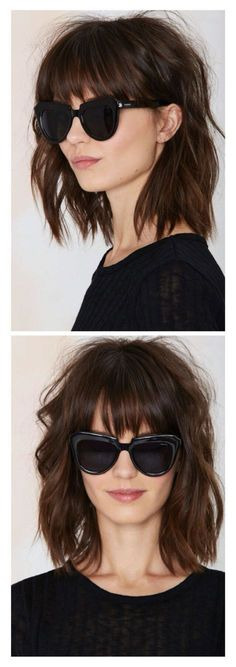 Messy lob with bangs Image source