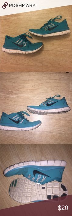 Turquoise Nike Free Runs 5.0 Beautiful turquoise colored Nike's that have been worn in a couple times. It is too tight for me to completely break in. Nike's run half a size small so if you're an 8 or even 7 1/2, this will be great for you! Like everything else I sell on here, I will be giving these away at half the price I originally bought them for. Please rehome these beautiful shoes! Nike Shoes Athletic Shoes