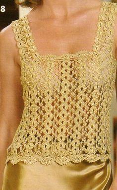 Blusa Dorada a Crochet motivos cadenas