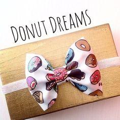 Donut doughnut sprinkle fabric bow baby headband by SplendidBee, $6.00