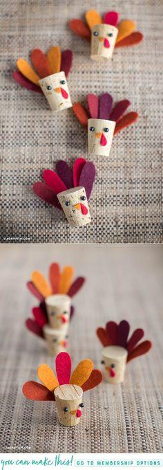 Simple DIY Cork Turkey Kids Craft - www.LiaGriffith.com #EasyKidsCraft #Thanksgiving #DIYFall #FallDIY #ThanksgivingDIY