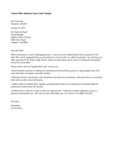 School Office Assistant Cover Letter   How To Write A School Office  Assistant Cover Letter?