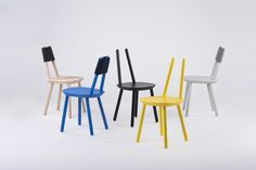 : Naive is a simply constructed wooden chair designed by etc.etc. Chair Design Wooden, Furniture Design, Wooden Chairs, Scandinavian Furniture, Contemporary Furniture, Naive, Living Room Chairs, Dining Chairs, Painting Wooden Furniture