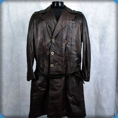 MATRIN FREEDMAN Vintage Trench Coat LEATHER Long Spy Jacket Mens Size L 42 Brown