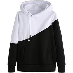 Color Block Hooded Sweatshirt With Pockets ($16) ❤ liked on Polyvore featuring tops, hoodies, black and white, pocket hoodie, long sleeve pullover, color block tops, hoodies pullover and long sleeve hoodie