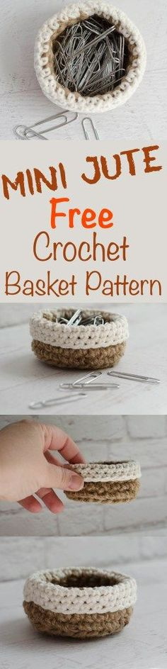 Mini Crochet Jute Basket.  This is great!  Adorable and so easy!  Love free patterns!