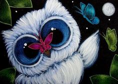 Art: TINY BLUE OWL - A KISS FROM THE BUTTERFLY by Artist Cyra R. Cancel