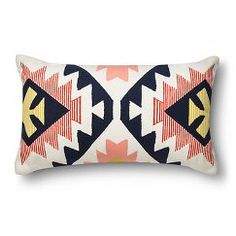 "Room Essentials™ Southwest Lumbar Pillow - Black and Coral (12x20"")"