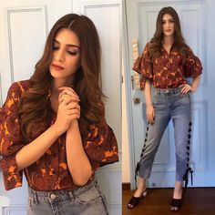 Rabtaa style file: Kriti Sanon embraces fresh trends for her promotional looks Casual Fall Outfits, Classy Outfits, Casual Dresses, Casual Wear, Bollywood Dress, Bollywood Fashion, Bollywood Stars, 90s Fashion, Indian Fashion