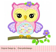 Cute spring girly owl 03 Applique 4x4 5x7 by CherryStitchDesign, $2.99