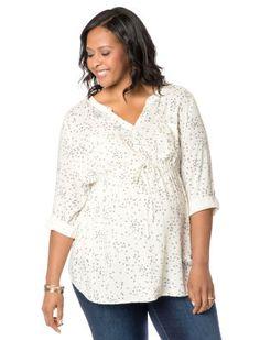 Plus Size Convertible Sleeve Tie Front Maternity Tunic #destinationmatstyle