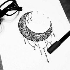 Trendy Tattoo Back Mandala The Moon 32 Ideas Moon Mandala, Mandala Tattoo, Mandala Art, Luna Tattoo, Future Tattoos, New Tattoos, Body Art Tattoos, Tatoos, Moon Sketches