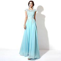 Formal+Evening+Dress+-+Grape+/+Sky+Blue+/+Candy+Pink+Plus+Sizes+/+Petite+A-line+Bateau+Floor-length+–+USD+$+62.99