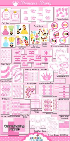 Princess Party Printable - Princess Birthday -Cinderella - Belle - Ariel - Tiana - Rapunzel -Huge Party Set by Amandas Parties TO GO Check out the website to see Princess Party Decorations, Birthday Decorations, Party Themes, Party Ideas, Cinderella Birthday, Princess Birthday, 3rd Birthday Parties, Birthday Fun, Birthday Ideas