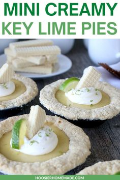 Mini Creamy Key Lime Pies! These Mini Key Lime Pies start with a Key Lime Wafer Cookie Crust and filled with a creamy easy Key Lime Pie Recipe that takes only four ingredients. Spring is a time to… More Mini Pie Recipes, Best Dessert Recipes, Fun Desserts, Real Food Recipes, Delicious Desserts, Yummy Food, Easy Recipes, Key Lime Wafers, Dessert For Dinner