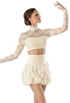 Lace Turtleneck Crop Top - Balera and its in black and ivory