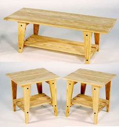Unstained Coffee And End Table Set