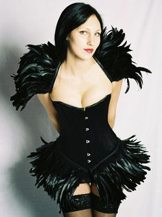 "Black Satin, Steel Boned Corset, Feather skirt trim - Made to measure up to 32"" -Gothic,Wedding,Clubwear,Evening Wear - Handmade by HERESY! on Etsy, $280.00"