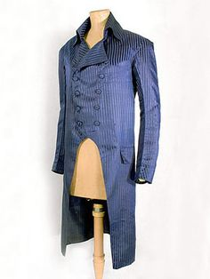 Neoclassical gentleman's striped silk coat, c.1805-10.