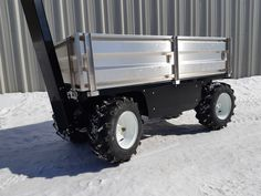This All-Terrain Electric Cart is equipped with aluminum removable sides to keep the payload secure. Standard features are black color and SuperLug tires. Electric Utility, Utility Cart, Platform, Trucks, Homemade, Box, Metal, Color, Black