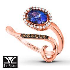Le Vian® Blueberry Tanzanite® Ring 1/8 ct tw Vanilla Diamonds® 14K Strawberry Gold®