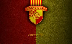 Download wallpapers Goztepe FC, 4k, Turkish football club, leather texture, Goztepe emblem, logo, Super Lig, Izmir, Turkey, football, Turkish Football Championship