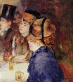 AT THE CAFE (1877) by Auguste Renoir | Impressionism | Oil on canvas | Private collection