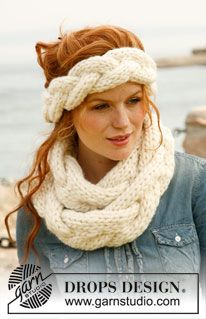 """Knitted DROPS head band and neck warmer with large cable in """"Polaris"""". ~ DROPS Design"""