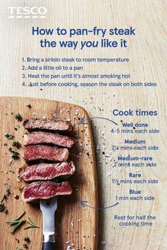 Recipes How do you like your steak? Whether you like it rare, medium or well done, learn to cook steak perfectly every time with our handy guide to steak cooking times, ready for cooking up a quick dinner or romantic steak supper for two. Cooking Tips, Cooking Recipes, Cooking Classes, Cooking Chef, Cooking Games, Steak Cooking Times Grill, Cooking Quotes, Cooking Bacon, Cooking Videos