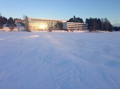 View of the Hotel from the frozen lake.