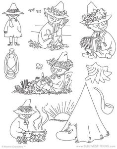 MOOMIN / Snufkin - Embroidery Patterns who knows if i will use these haha Embroidery Materials, Embroidery Patterns, Beginner Embroidery, Hand Embroidery, Machine Embroidery, Stitch Patterns, Moomin Tattoo, Les Moomins, Book Page Art