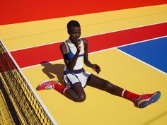Viviane shoots Pharrell Williams' new tennis collection for Adidas Originals to coincide with the US Open.