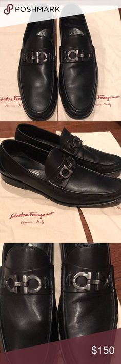 Men's black leather Ferragamo loafers Black leather men's Ferragamo Italian loafers with signature buckle Beautiful shoes, great condition,  Dust bags included Ferragamo Shoes Loafers & Slip-Ons