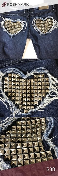 Frankie B Boot Cut Heart Stud Pocket Jeans 27x31.5 no stains. Pocket studs have a tiny bit of wear see photos. 98% cotton 2% Lycra  Cool Frankie B distressed heart studded pockets  Measurements  Tag reads 24  Actual flat measures  27 waist  31.5 inseam Frankie B. Jeans Boot Cut