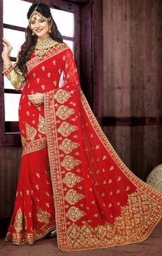Dazzling Diva Red Color Ethnic Wedding Saree Add Grace And Charm On Your Appearance In This Attractive Red Chiffon Saree. This Attractive Attire Is Displaying Some Fantastic Embroidery Done Latest Indian Saree, Indian Silk Sarees, Indian Sarees Online, Indian Beauty Saree, Red Chiffon, Chiffon Saree, Saree Dress, Georgette Sarees, Red Saree Wedding